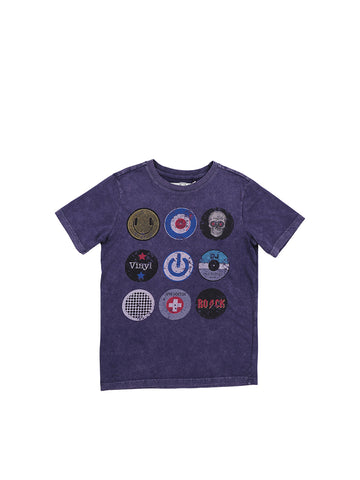 Boys Maritime Blue Circles Boys Mineral Wash Jersey Tee