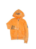 Boys Orange Pepper Boys Mineral Wash Fleece Zip Hoodie With Print Design 2