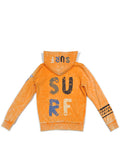 Boys Orange Pepper Boys Mineral Wash Fleece Zip Hoodie With Print Design