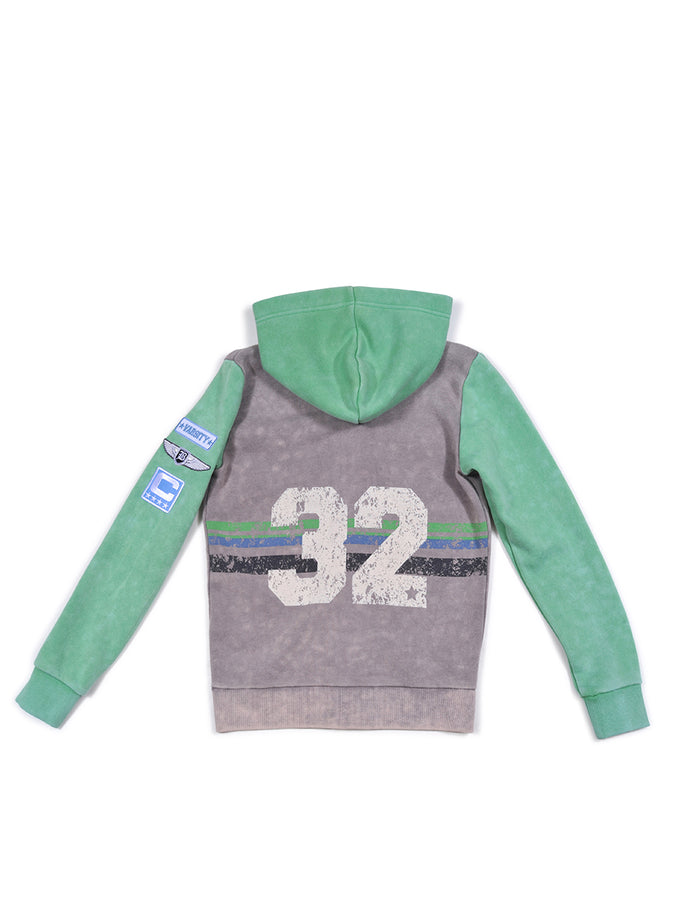 Boys Silver Filigree Boys Colorblock Mineral Wash Hoodie With Print Design