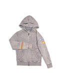 Boys Silver Filigree Boys Mineral Wash Fleece Zip Hoodie With Print Design 2