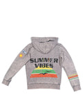 Boys Silver Filigree Boys Mineral Wash Fleece Zip Hoodie With Print Design