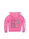 Girls Beetroot Purple Pop Art Emojis Burnout Fleece Zip Hoodie