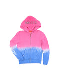 Girls Beetroot Purple Soccer Dip Dye Fleece Zip Hoodie 2