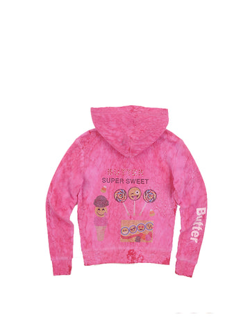 Girls Beetroot Purple Super Sweet Rain Wash Fleece Zip Hoodie