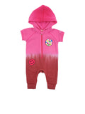 Girls Beetroot Purple Patches Dip Dye Hooded Fleece Romper 2