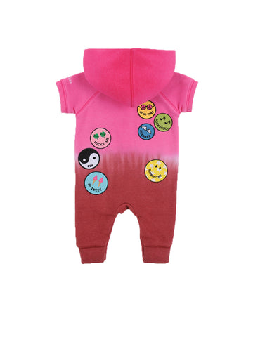 Girls Beetroot Purple Patches Dip Dye Hooded Fleece Romper