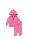 Girls Beetroot Purple Stripe Hearts Mineral Wash Fleece Zip Set 2