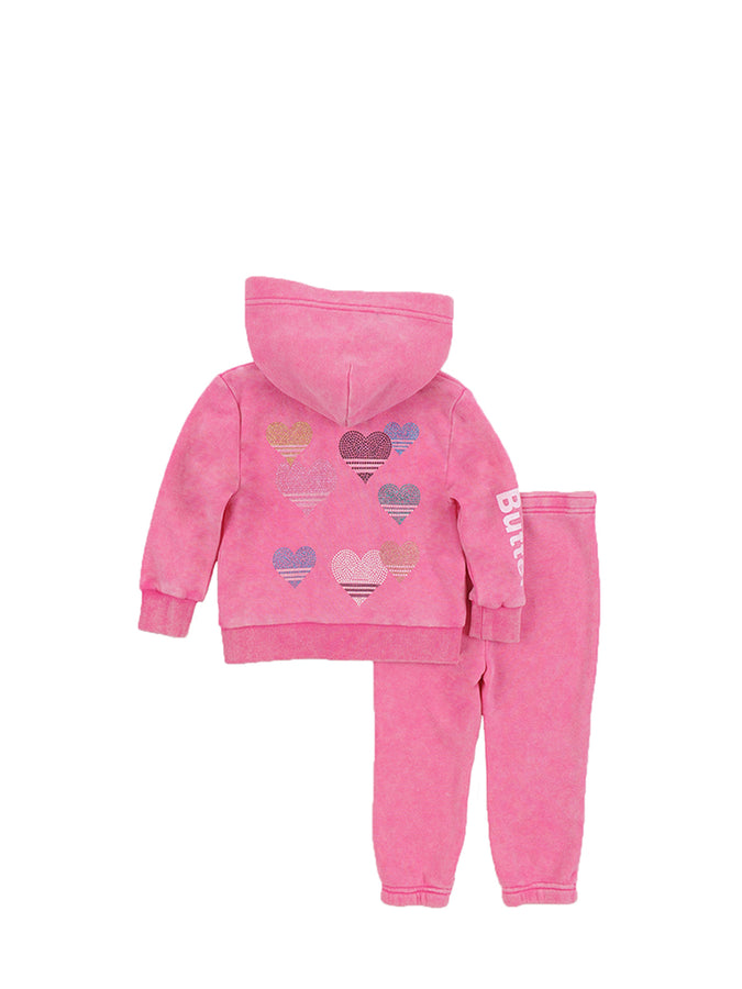 Girls Beetroot Purple Stripe Hearts Mineral Wash Fleece Zip Set