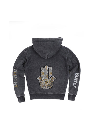 Girls Black Hamsa Hand Burnout Fleece Zip Hoodie