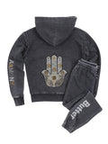Hamsa Hand Burnout Fleece Zip Hoodie - Black