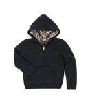 Girls Black Leopard Reversible Zip Hoodie 2