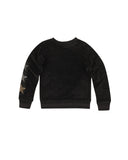 Girls Black Embellished Skull Velour Pullover 2
