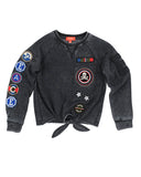 Girls Black Peace Patches Burnout Fleece Tie-Front Pullover