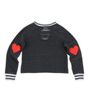 Girls Black Rainbow Heart Mineral Wash Cropped Pullover 2