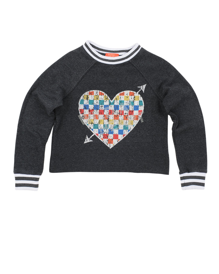 Girls Black Rainbow Heart Mineral Wash Cropped Pullover