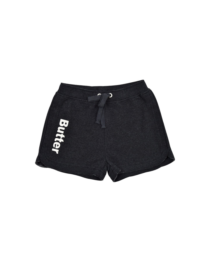 Girls Black Solid Fleece Varisty Short