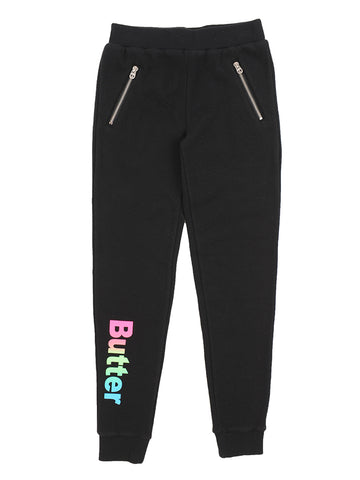 Girls Black Fleece Jogger Pants