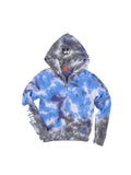 Girls Blue Multi Collage Tye Dye Fleece Zip Hoodie 2