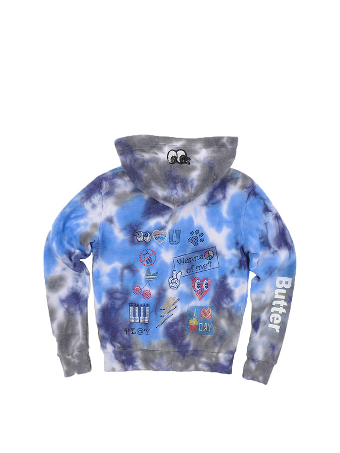 Girls Blue Multi Collage Tye Dye Fleece Zip Hoodie