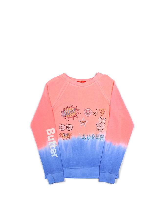 Girls Bright Coral Collage Dip Dye Malibu Raglan