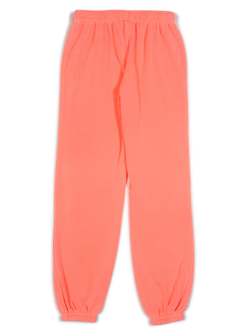 Girls Bright Coral Burnout Fleece Varsity Pant 2 Alternate View