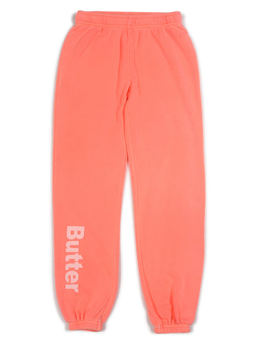 Girls Bright Coral Burnout Fleece Varsity Pant