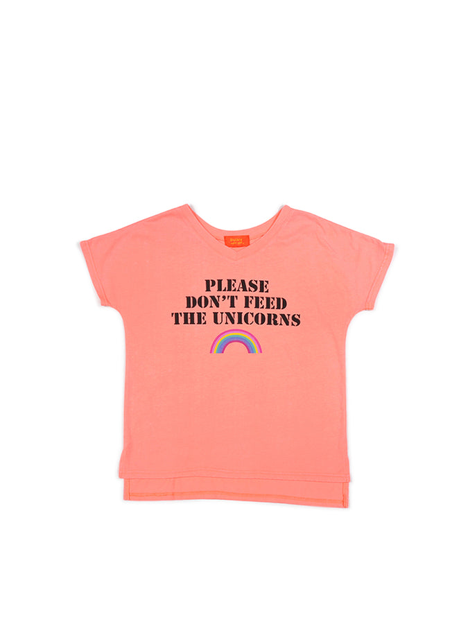Girls Bright Coral Unicorns Mineral Wash V-Neck Tee