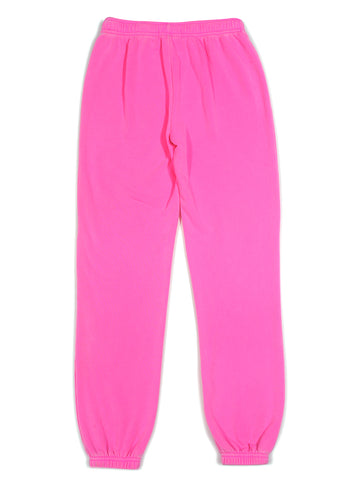 Girls Bright Pink Burnout Fleece Varsity Pant 2 Alternate View