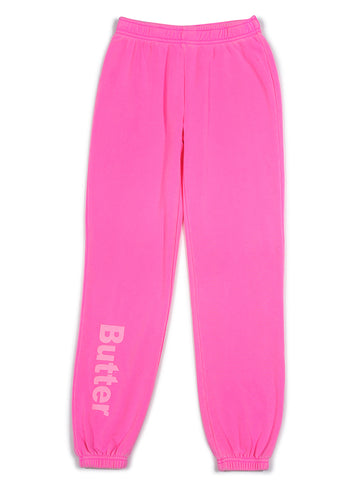 Girls Bright Pink Burnout Fleece Varsity Pant