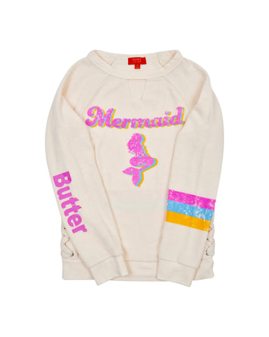 Girls Buttercream Mermaid Hamptons Fleece Pullover