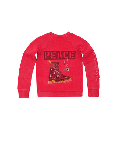 Girls Chili Pepper Stand For Peace Burnout Fleece Lace-Up Pullover
