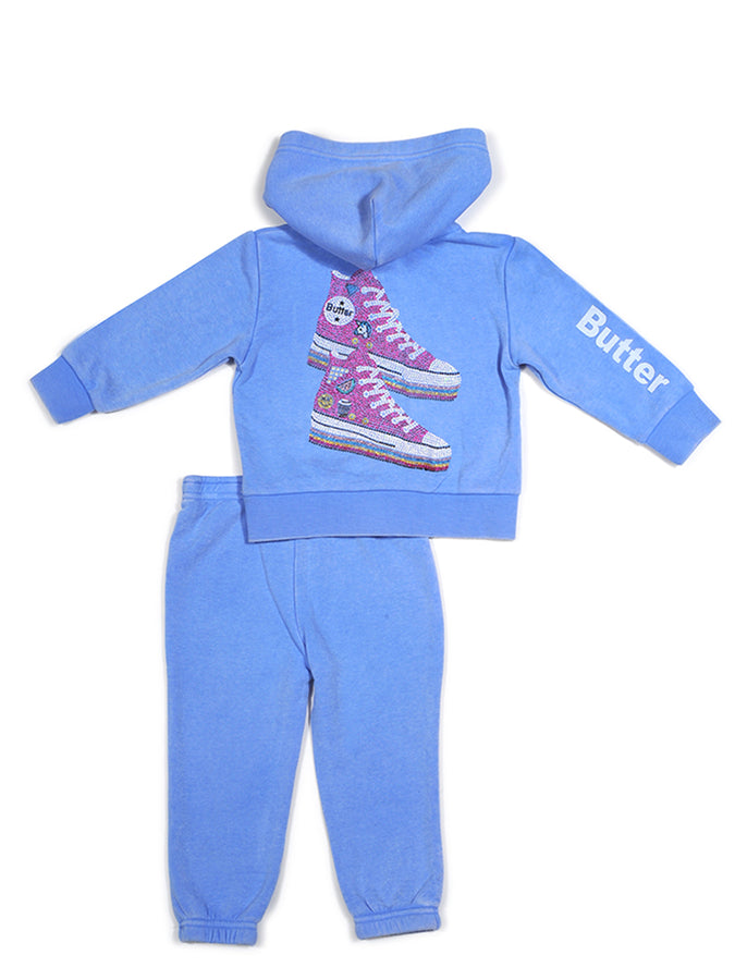 Girls Cornflower Sneakers Glitter Print Burnout Set
