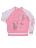 Girls Cotton Candy Unicorn Frappe Colorblock Fleece Bomber Jacket