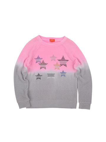 Girls Cotton Candy Striped Stars Dip-Dye Hampton Fleece Pullover