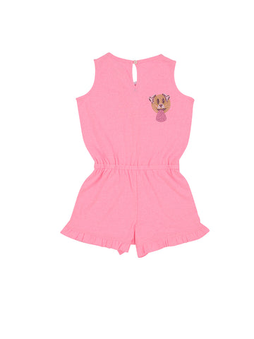 Girls Cotton Candy Lace-Up Jersey Romper 2 Alternate View