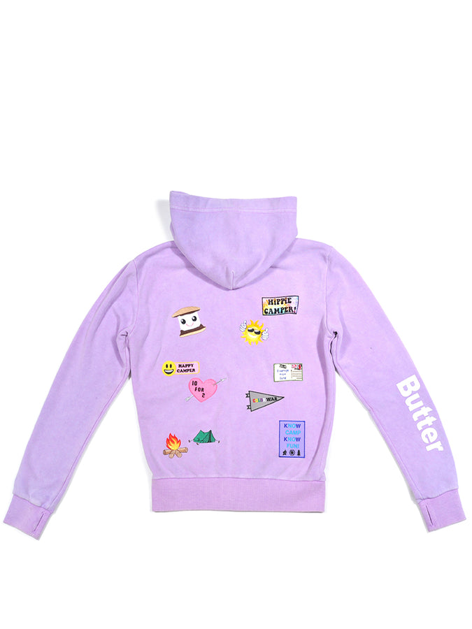 Girls Crocus Petal Camp Patches Mineral Wash Hoodie