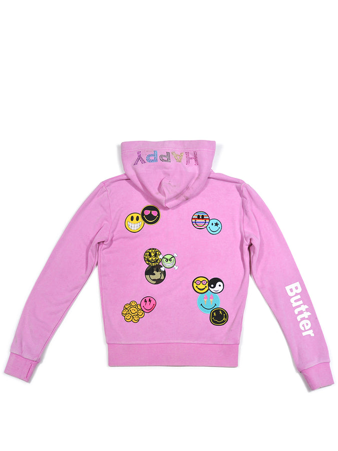 Girls Cyclamen Smile Patches Mineral Wash Hoodie