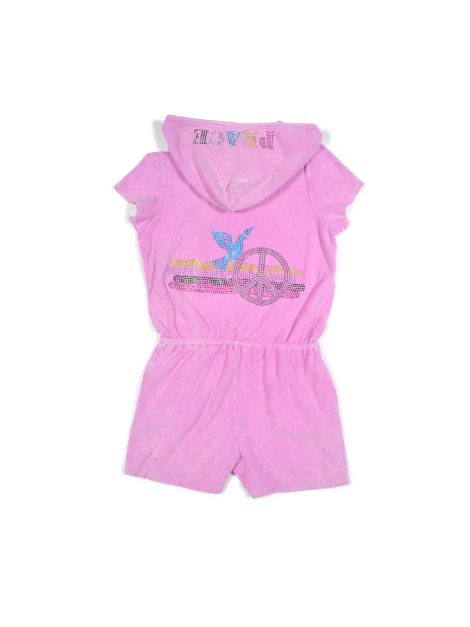 Girls Cyclamen Peace Dove Mineral Wash Terry Romper