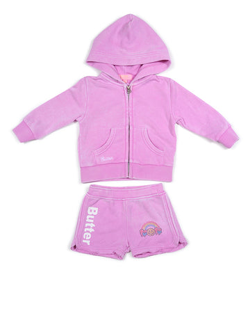 Girls Cyclamen Coloring Glitter Print Burnout Hoodie And Shorts 2 Alternate View