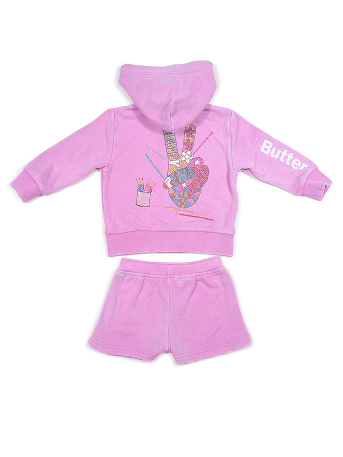 Girls Cyclamen Coloring Glitter Print Burnout Hoodie And Shorts