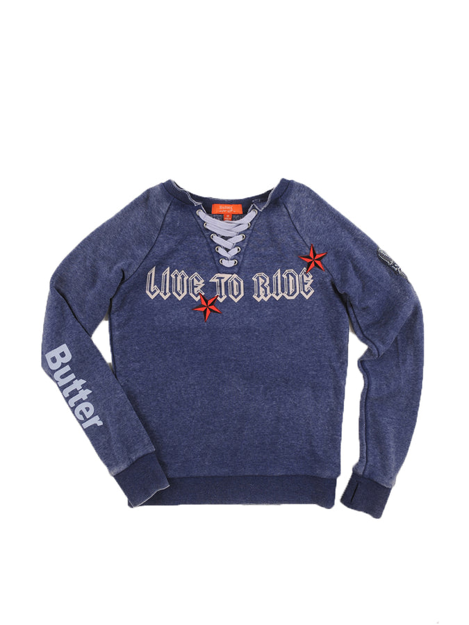 Girls Eclipse Live To Ride Fleece Lace-Up Varisty Pullover