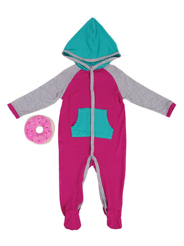 Girls Fuchsia Colorblock Onesie