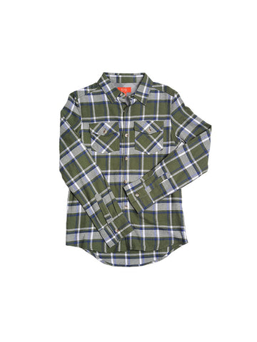Girls Green Cotton Flannel Boyfriend Button Up