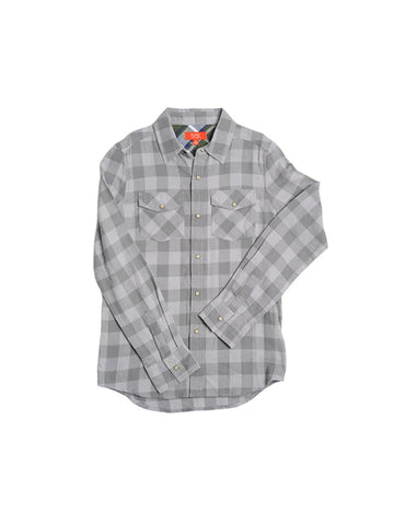 Girls Grey Buffalo Check Cotton Flannel Boyfriend Button Up