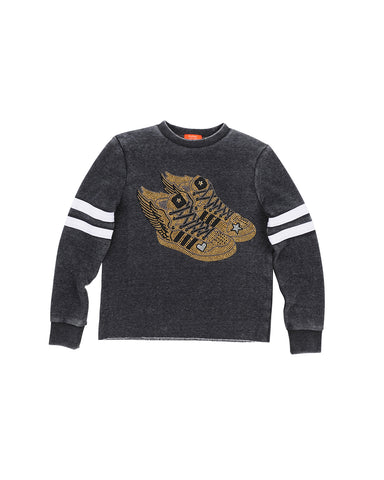 Girls Heather Charcoal Gold Wing Sneaker Burnout Fleece Pullover