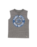 Girls Heather Charcoal Camp With Butter Lace Front Graphic Tank