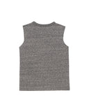 Girls Heather Charcoal Camp With Butter Lace Front Graphic Tank 2