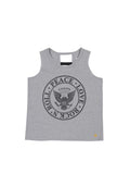 Girls Heather Charcoal Peace, Love, Rock Ladder Back Jersey Tank