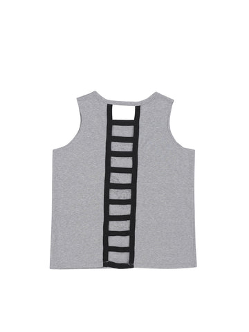 Girls Heather Charcoal Peace, Love, Rock Ladder Back Jersey Tank 2 Alternate View